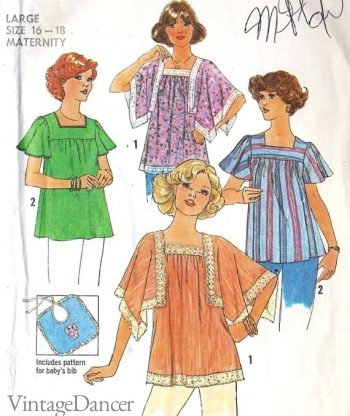 Late 1960s peasant maternity tops
