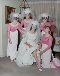 1960s Pink tops and white skirt bridesmaid dresses