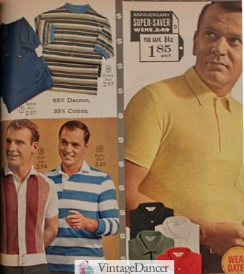 1961 polo shirts, knit stripe shirts (button down and pullover)