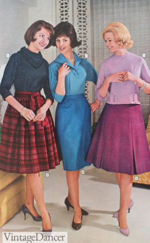 1961 swing, pencil and full A-line skirts