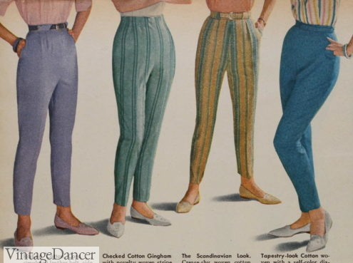 1961 plain or striped tapered fit pants women 1960s fashion