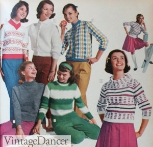 1961 Teen Sweaters- Big patterns, big collars
