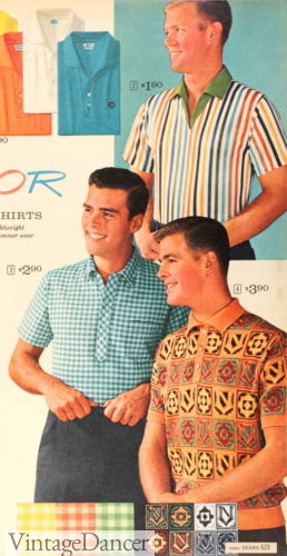1962 knit shirts- stripes, gingham and tile print