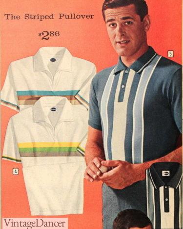 1963 mens horizontal stripe polo shirts