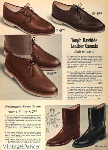 1963 lace tie shoes and wellington boots