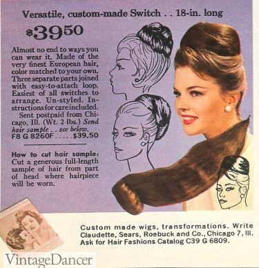 1963 hair buns with pieces