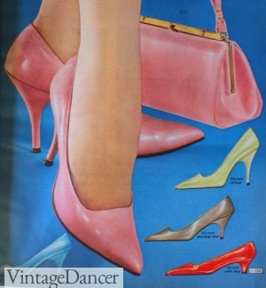 1964- Three heel heights. tall stiletto and mid and short kitten heels.