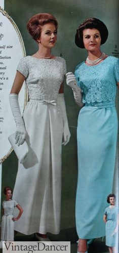 1964 Lace column wedding dress and blue mothers dress