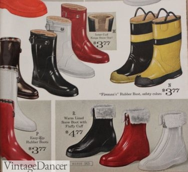 "1964 colorful rain boots including pull-loops ""fireman"" rain boots"