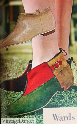 1964 Booties with Color Block Pattern.