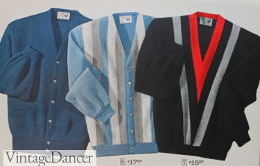 1964 mod vertical and chevron stripe cardigan and pullover sweaters