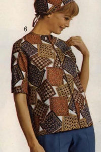 1965 a patchwork printed shirt and headscarf