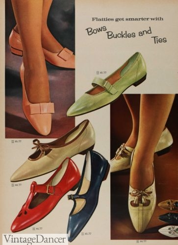 1966 buckled or bow flats shoes footwear