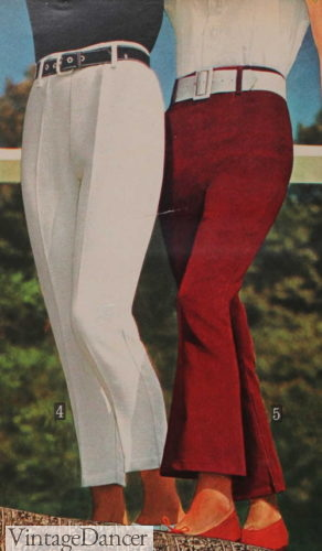 1966 straight and flare leg hip huggers pants trousers