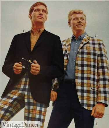 60s men fashion - 1966 plaid pants or sportscoat with solid trousers