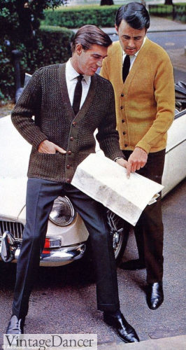 1960s mens outfit idea : Cardigan sweater, dress shirt and tie was a 60s classic for men
