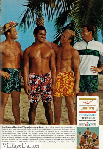 Guys 1960s 1966 surfer shorts mens swim bathing suits