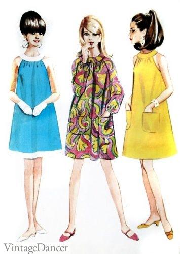 1966 tent dress babydoll dress swing mini dress