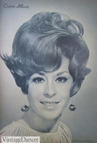 1960s hair styles with drop ball earrings for women