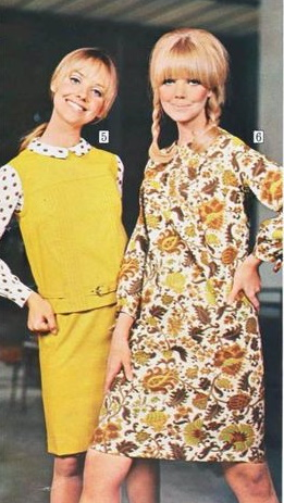 1967 yellow, brown and white paisley dress