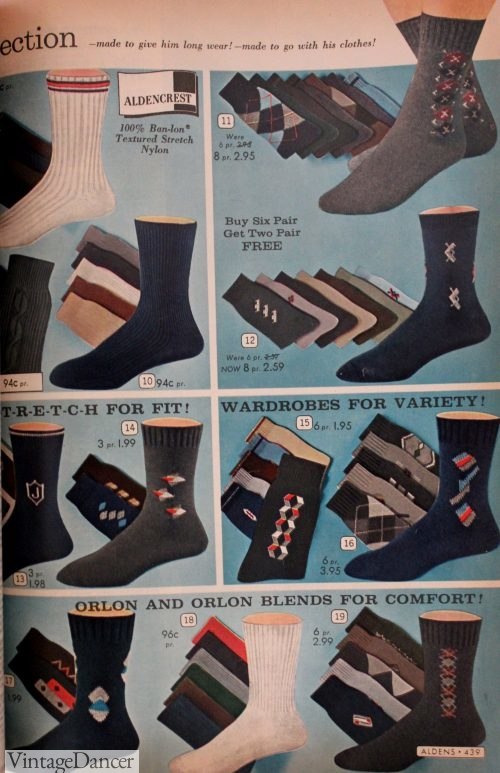 1967 men's socks with designs over the ankles