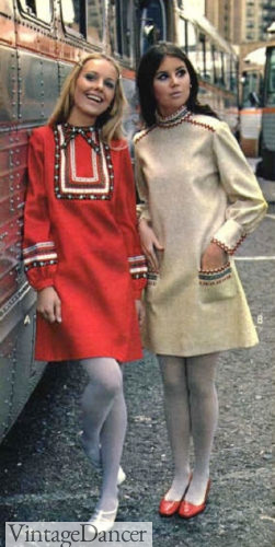 1967 ethnic embroidery tunic dresses