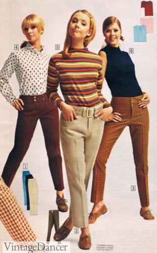 "1967 narrow leg ""hip hugger"" pants with blouses or mock neck shirt"