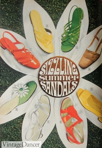 1960s womens shoes sandals - all bright colors!