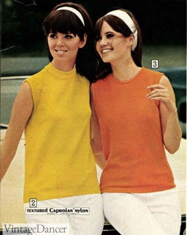 1968 mock neck and small crew neck shell knit tops