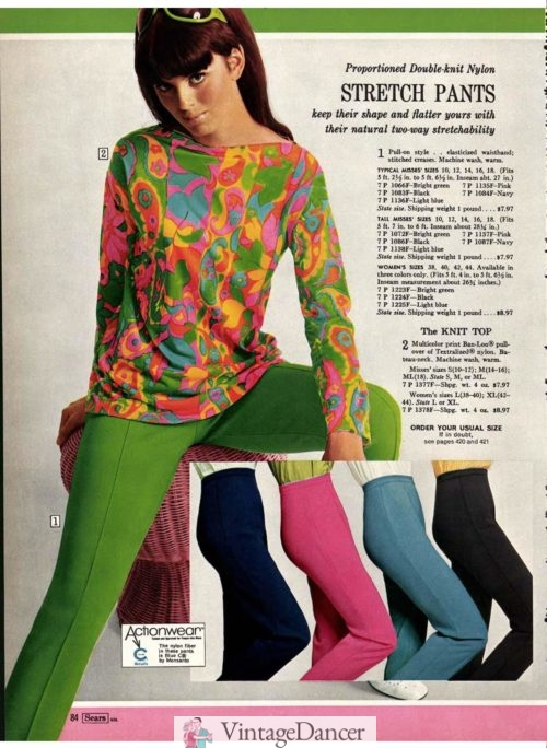 """1968, trippy colors and pattern were mainstream and worn by some festival goers although not """"hippie"""" enough for the more dedicated hippies"""