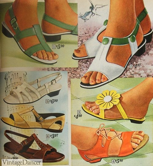 1968 summer sandals in bright colors