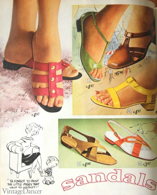 1968 strappy flat sandals