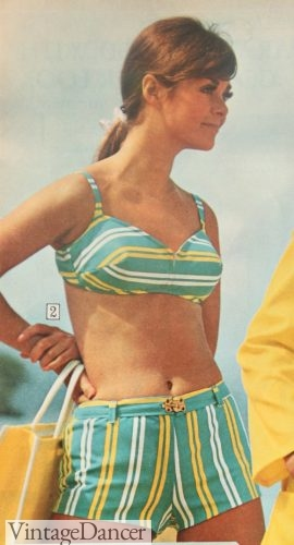 1967 striped boy short bikini swimsuit