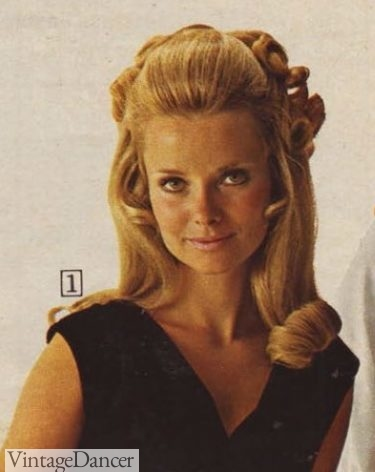 1968 evening long hair 1960s prom hairstyle