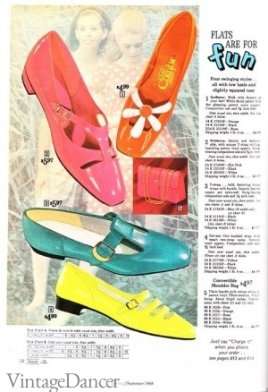1960s Pointed Toe Flats Shoes, saddle shoes, loafer, oxford. Shoes were also cheaper because new inventions in types of plastic and vinyl made making shoes inexpensive to mass produce. They didn't last long but they didn't need to either. With new materials came new, brighter colors, that matched whatever trendy color was in fashion that season. Baby pink, lime green, deep purple, mustard yellow, and sky blue to name a few.