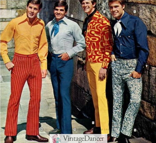 "1969 ""peacock"" fashion for men almost 70s style clothes"