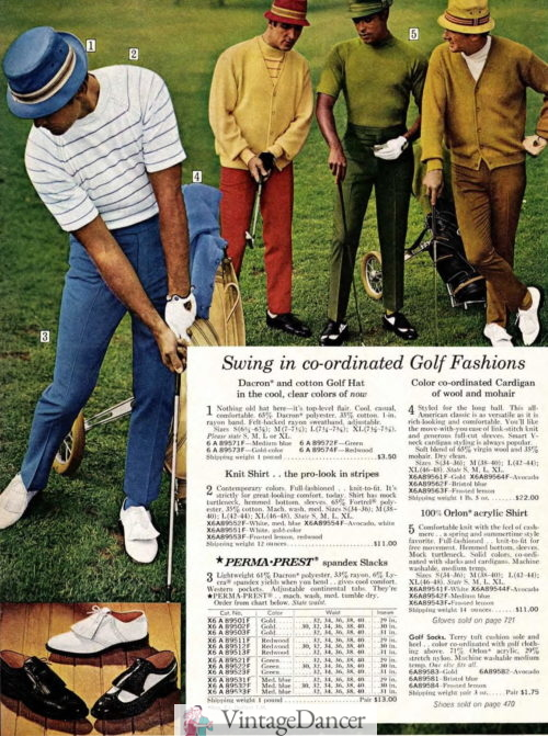 The 1960s mens golfers outfit - cardigan sweaters, knit shirts, colored trousers, white or two tone shoes and bucket hats