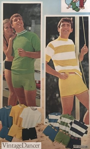 1960s guys bathing suits and T shirts