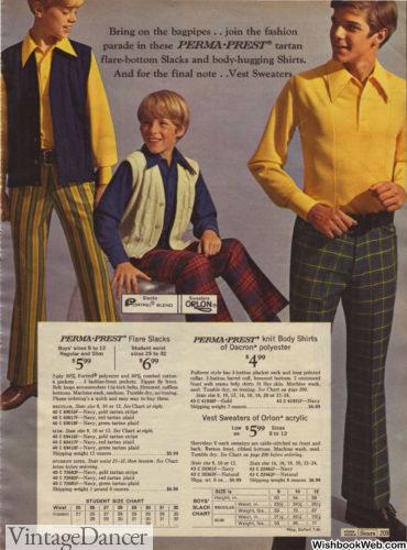 1969 plaids and stripes mens pants