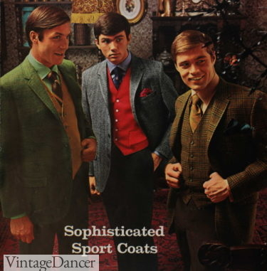 1969 mens fashion sportscoat, sweater vests, tie and trousers- all in mismatched colors and patterns
