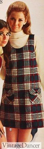 1969 plaid jumper dress