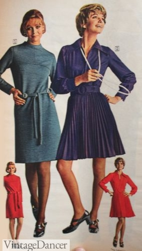 1970 simple short dresses- pleats or sheath