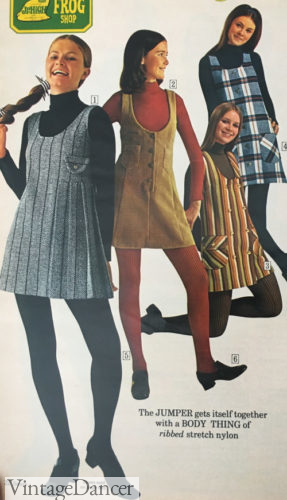 1970 teens jumper dresses over shirts and tights
