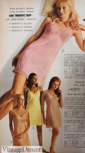1970 colored nylon slips