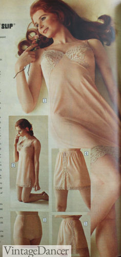 1970 slips- dress and skirt slips 70s lingerie