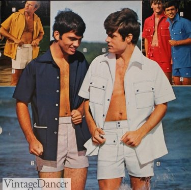 1970 men's fixed waist shorts with large pockets