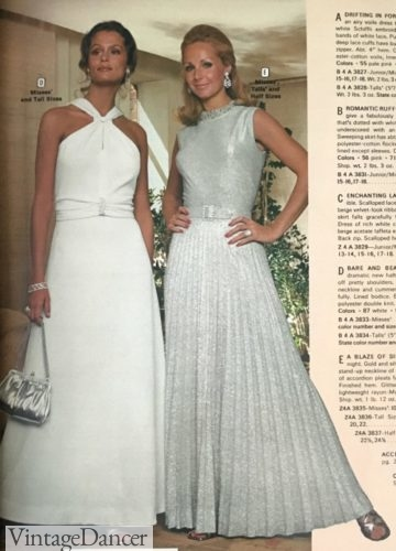 1973 white and silver evening dresses and gowns