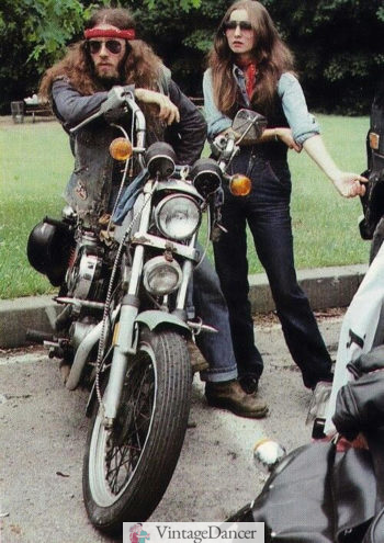 1970s biker hippies at VintageDancer