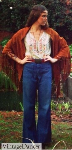 70s hippie outfit Fringe shawl, peasant blouse and wide leg pants