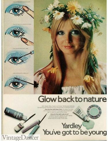 1970s hippie makeup - Blue eyeshadow